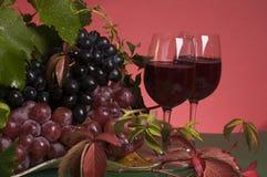 Primer del vino rojo y de la uva Fotos de archivo