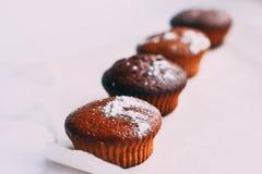 Primer delicioso hecho en casa de los molletes del chocolate, horizontal Foto de archivo libre de regalías