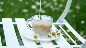 Primer, desaceleración En un platillo blanco, adornado con las margaritas, hay una taza de cristal con té La leche se vierte en e almacen de metraje de vídeo