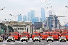 Primer desfile de Moscú del transporte de la ciudad Centro de negocios de la Moskva-ciudad Fotografía de archivo