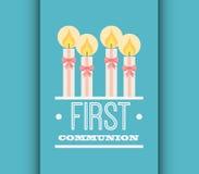 Primer diseño de tarjeta de la comunión Foto de archivo libre de regalías
