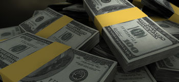 Primer dispersado notas de la pila del dólar de EE. UU. Fotografía de archivo