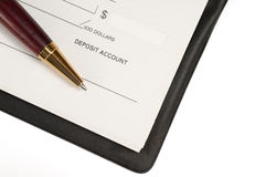 Libro de cheque abierto Fotos de archivo libres de regalías