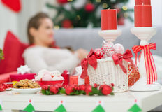 Primer en el vector con las decoraciones de la Navidad Imagen de archivo