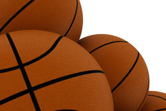Primer en la pila de baloncestos Foto de archivo