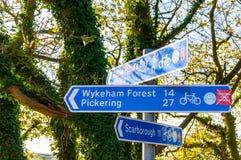Primer en posts de muestra turísticos en el pueblo de Ravenscar, Reino Unido Foto de archivo libre de regalías