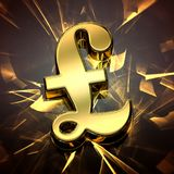 Primer en un símbolo de oro de la libra con la luz cáustica stock de ilustración