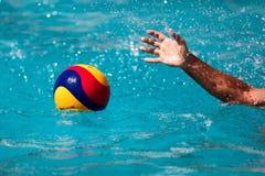 Primer en una mano que sostiene la bola del water polo durante el Griego Fotografía de archivo