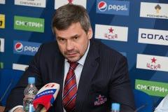 Primer entrenador del club Dmitry Kvartalnov del hockey de CSKA Foto de archivo libre de regalías
