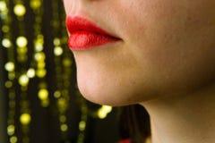 Primer femenino sensual hermoso de los labios Imagenes de archivo