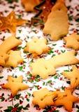 Primer hecho en casa sabroso de las galletas de la Navidad de la mantequilla foto de archivo libre de regalías