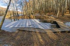 Primer hielo en una charca en el Forest Park Fotos de archivo