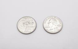 Primer a Indiana State Symbol en moneda del dólar cuarto en el fondo blanco Imagenes de archivo