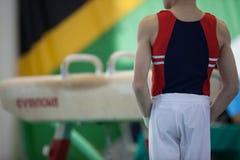 Primer joven del competidor del aparato del caballo de la gimnasia Imagen de archivo libre de regalías