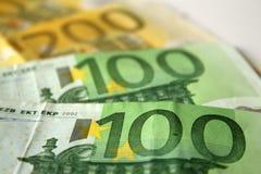 Primer a los billetes de banco euro Fotografía de archivo libre de regalías
