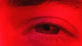 Primer macro del hombre que centella rápidamente ojos y que mira en cámara almacen de video