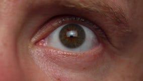Primer macro del ojo masculino metrajes
