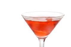 Primer martini rojo con hielo Foto de archivo libre de regalías