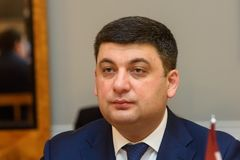 Primer ministro de Ucrania Volodymyr Groysman fotografía de archivo