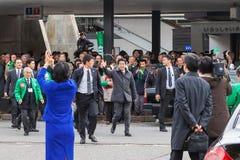 Primer ministro japonés Shinzo Abe durante su solicitación de votos Fotografía de archivo libre de regalías