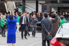 Primer ministro japonés Shinzo Abe durante su solicitación de votos Imágenes de archivo libres de regalías