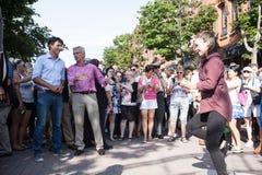 Primer ministro Justin Trudeau Watching Performer fotos de archivo libres de regalías