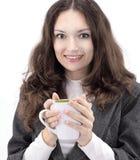 primer mujer de negocios acertada con una taza de café Imagenes de archivo
