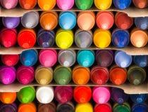 Primer multicolor de los creyones fotos de archivo libres de regalías