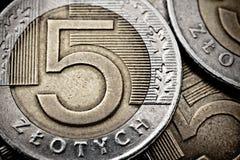 Primer polaco del extremo de la moneda Fotos de archivo libres de regalías