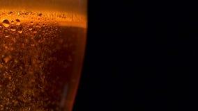 Primer que sube encima de muchas burbujas de oro del aire de la cerveza refrescada en vidrio grande con descensos del agua almacen de video