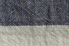 primer rayado blanco y azul de la macro de la tela de algodón Imagen de archivo libre de regalías