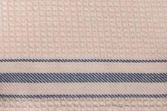Primer rayado de la textura del algodón de la tela de la toalla Imagenes de archivo