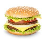 Primer real de la hamburguesa aislado en un blanco Imágenes de archivo libres de regalías