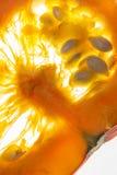 primer Rebanada de calabaza anaranjada en fondo luminoso con el pul Foto de archivo