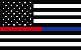 Primer respondedor los E.E.U.U. La línea roja fina fina de Blue Line bordó U S Ojales de cobre amarillo de la bandera americana r stock de ilustración