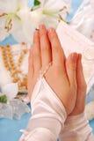 Primer santo comunión-amen Foto de archivo