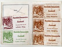 Primer and Seals of the Basque Communist Party. Spanish civil war. Primer and Seals of the monthly quota of one peseta of the communist party of Euzkadi. Spanish Stock Image