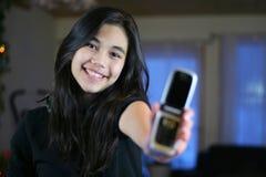 Primer teléfono celular adolescente. Fotos de archivo