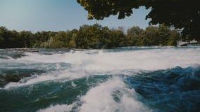 Primer tirado de árboles verdes hermosos sobre las aguas de río rápidas que rabian peligrosas de Niágara con la espuma que salpic metrajes