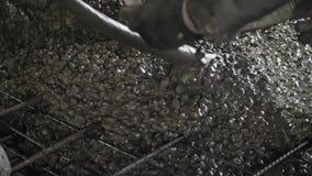 Primer tirado del bastidor concreto en el refuerzo de barras de metal de una losa almacen de video