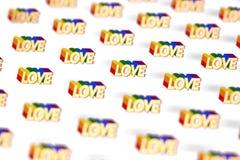 Primer tirado en palabra de oro del AMOR con el modelo del esquema del arco iris Junio como mes del concepto del orgullo gay y de ilustración del vector