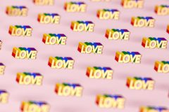 Primer tirado en palabra de oro del AMOR con el modelo del esquema del arco iris Junio como mes del concepto del orgullo gay y de stock de ilustración