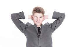 primer un empresario joven acertado Aislado en un blanco imágenes de archivo libres de regalías