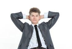 primer un empresario joven acertado Aislado en un blanco foto de archivo
