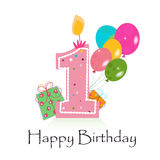Primer vector feliz de la tarjeta de cumpleaños con impulsos y Fotografía de archivo