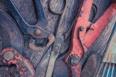 Primer viejo de las herramientas - colección de la herramienta del vintage Fotografía de archivo