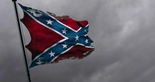 Primer viejo rasgado del grunge del rasgón de agitar la bandera confederada de la animación de los estados nacionales de América  stock de ilustración