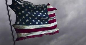 Primer viejo rasgado del grunge del rasgón de la bandera americana de los E.E.U.U., barras y estrellas, los Estados Unidos de Amé almacen de metraje de vídeo