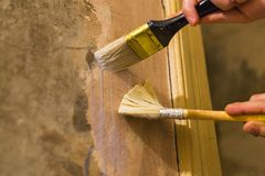 Primer wall repair. Old wall preparation for repair Royalty Free Stock Photography