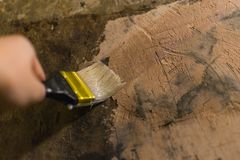 Primer wall repair. Old wall preparation for repair Stock Photography